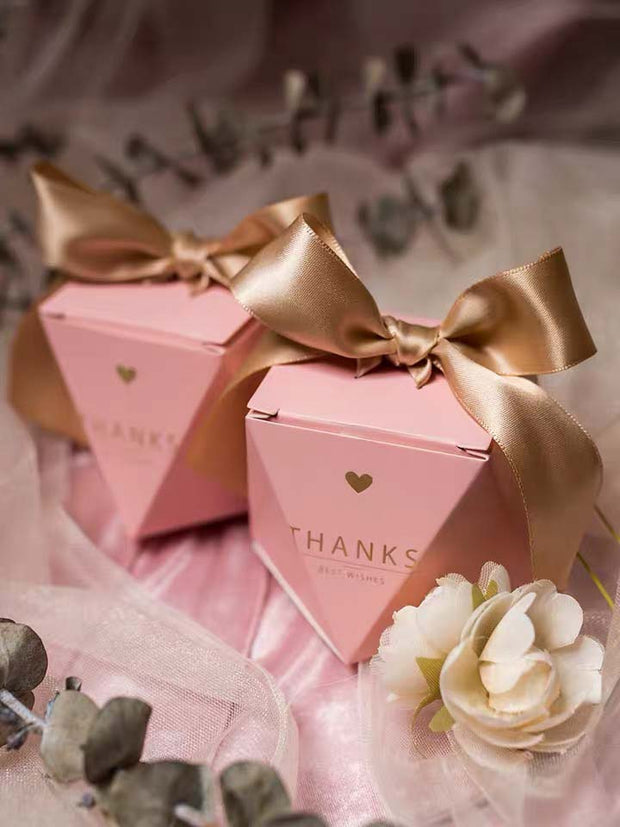 50 PCS Dusty Pink Rose Guest Favors Wedding Candy Boxes with Big Ribbon