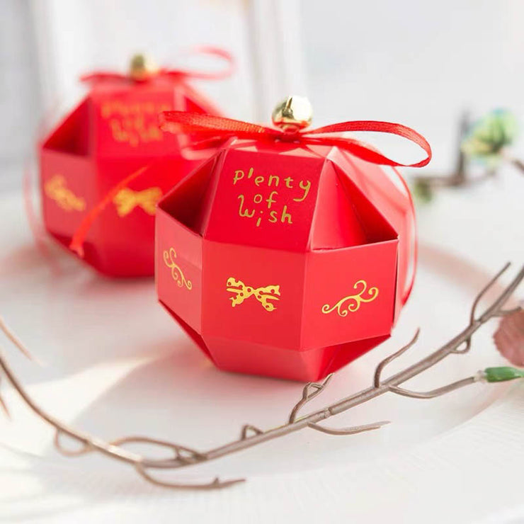 50 PCS Cute Guest Favors Wedding Candy Boxes Designed With Cute Circular Bell And Ribbon