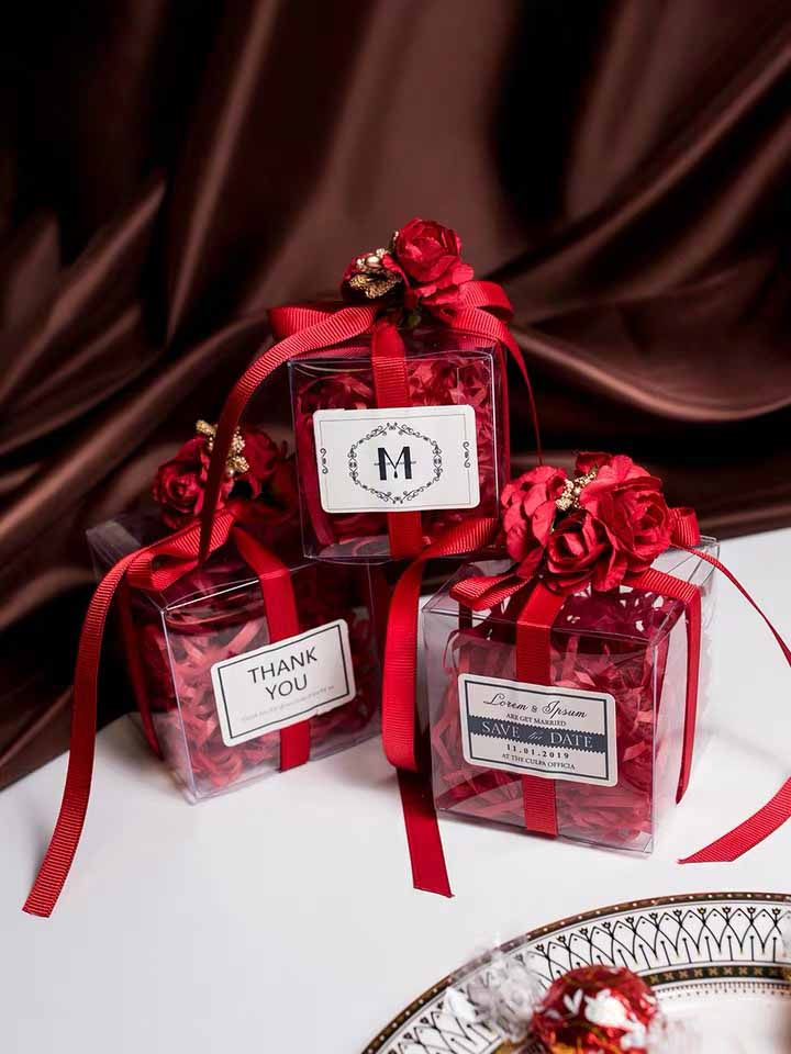 50 PCS Wedding Guest Favors Burgundy Red Wedding Candy Boxes Designed With Faux Floral