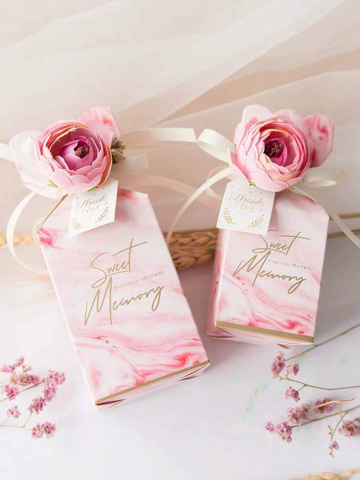50 PCS Wedding Guest Favors Marble Pink Candy Box with Faux Flower