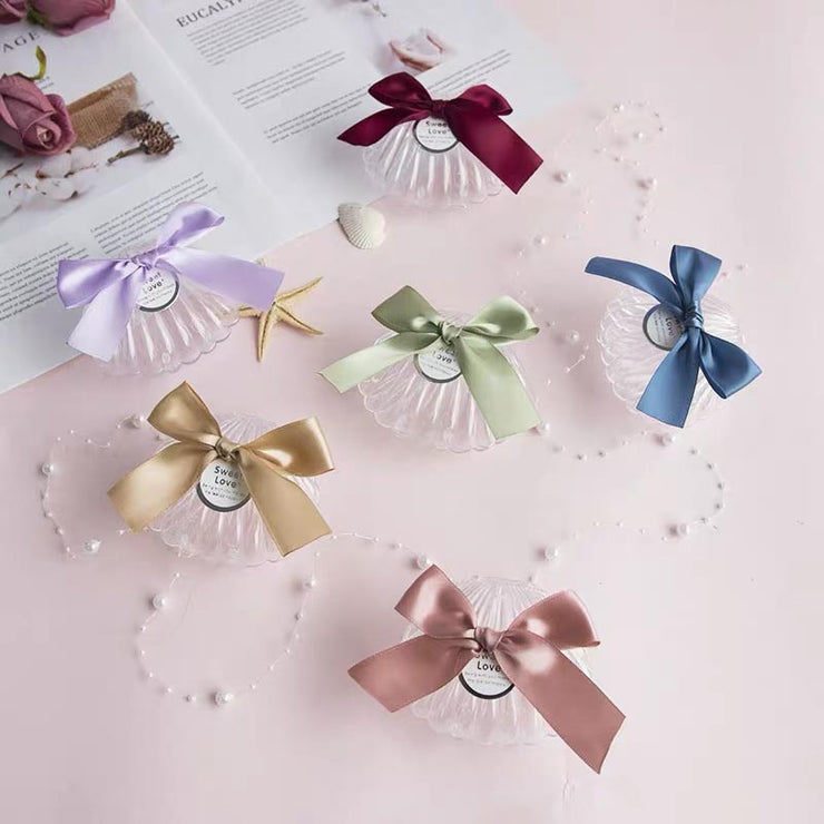 50 PCS Shell Designed Guest Favors Wedding Candy Boxes with Ribbon