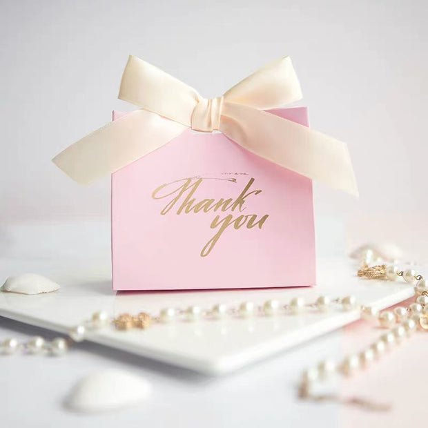 50 PCS Wedding Guest Favors Pink Wedding Candy Boxes with Paper Bag Design