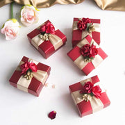 50 PCS Guest Favors Square Wedding Candy Boxes with Imitation Flowers and Ribbon