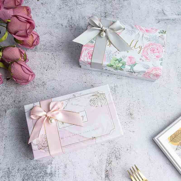 50 PCS Wedding Guest Favors with Rectangular Candy Boxes and Pink Ribbon