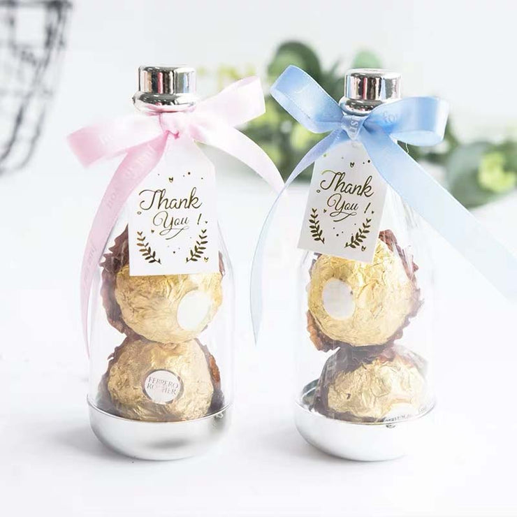 50 PCS Wedding Guest Favors in Bottle Shape with Pink or Blue Ribbon