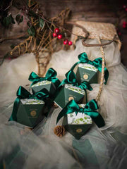 50 PCS Guest Favors Hexagonal Forest Green Wedding Candy Boxes with Silk Green Ribbon