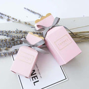 50 PCS Pink & Gold Wedding Candy Boxes