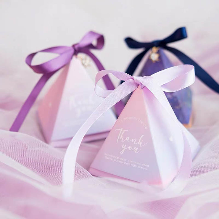 50 PCS Guest Favors Triangular Blush & Light Blue Wedding Candy Boxes