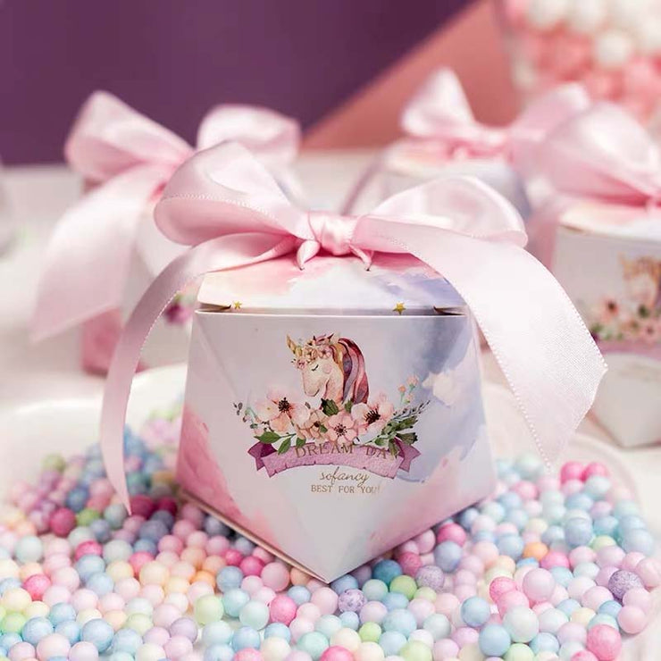 50 PCS Unicorn Print Guest Favors Wedding Candy Boxes with Pink Ribbon