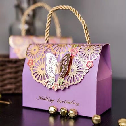 50 PCS Guest Favors Wedding Pink Butterfly Candy Boxes Gold Laser Cut