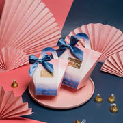 50 PCS Guest Favors Blue And Pink Ombre Design Wedding Candy Boxes with Ribbon