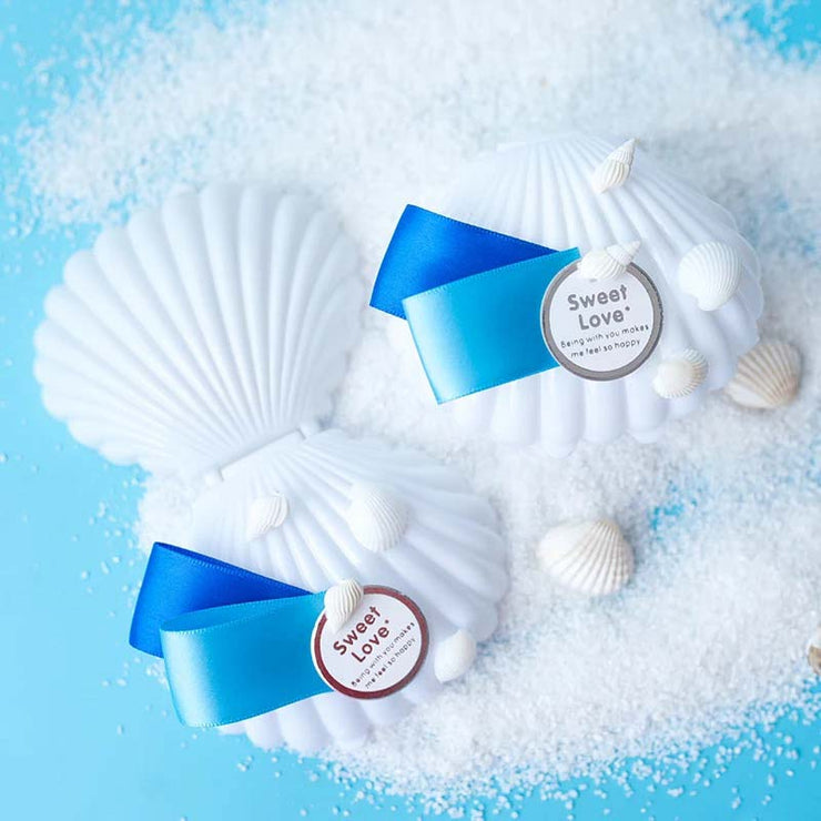 50 PCS Shell Guest Favors Wedding Candy Boxes with Seashells Design and Ribbon