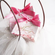 50 PCS Pink Marble Wedding Candy Boxes With Pink Ribbon