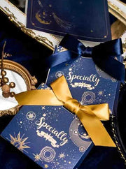 50 PCS Blue Guest Favors With Gold Print Wedding Candy Boxes with Ribbon