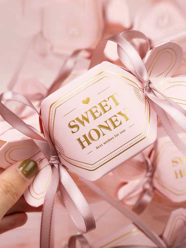 50 PCS Guest Favors Candy Design Wedding Candy Boxes with Ribbon on Both Sides