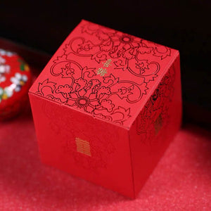 50 PCS Guest Favors Square Wedding Candy Boxes Chinese Style With Gold Double Happiness Sign