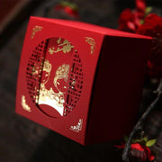50 PCS Chinese Style Guest Favors Wedding Candy Boxes with Golden Couple Print