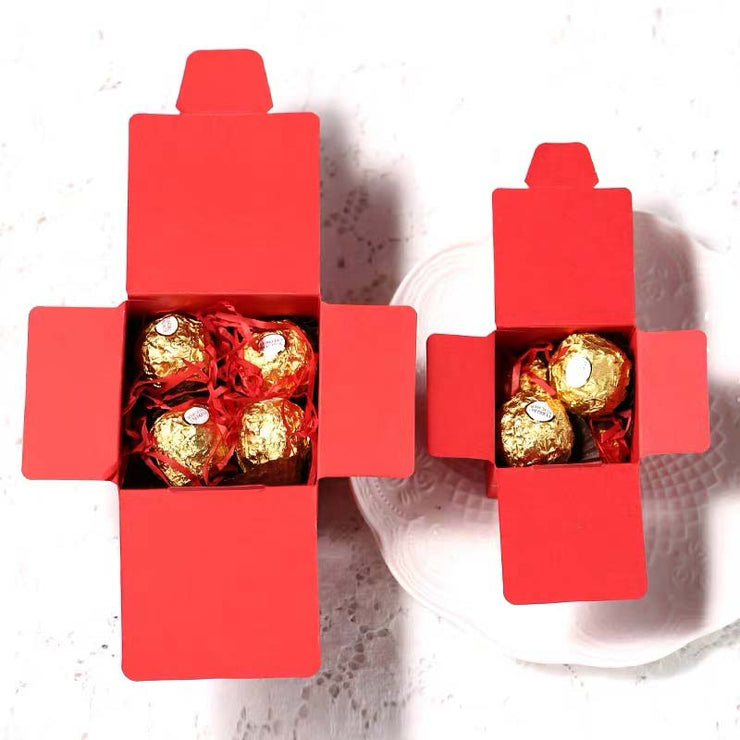 50 PCS Guest Favors Wedding Candy Boxes with Golden Print All Sides Double Happiness Sign