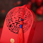 50 PCS Guest Favors Wedding Candy Boxes Chinese Style With Double Happiness Cut Decorated With Red Tassel With Pearl