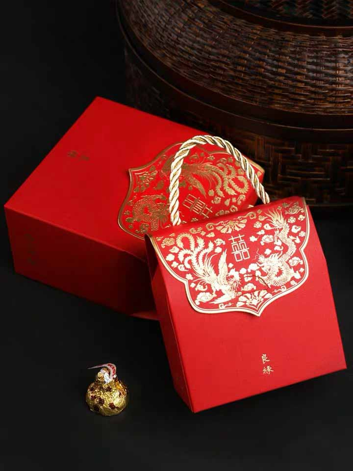 50 PCS Guest Favors Chinese Sty;e Wedding Candy Boxes with Blue Lining And Golden Handle