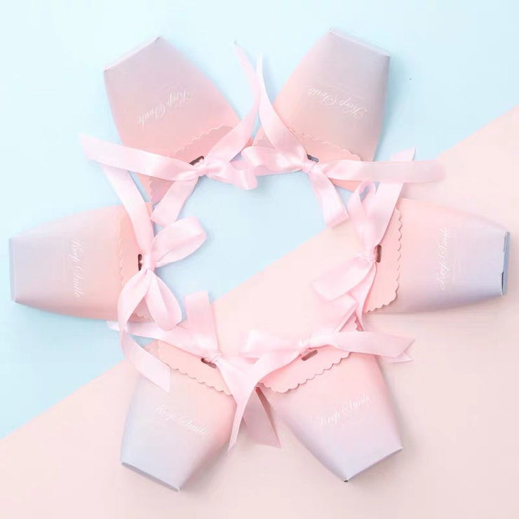 50 PCS Guest Favors Blue-Pink Ombre Print Wedding Candy Boxes with Pink Ribbon