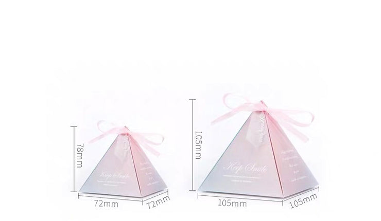 50 PCS Guest Favors Triangular With Blend Of Blue And Pink Color Wedding Candy Boxes with Pink Ribbon
