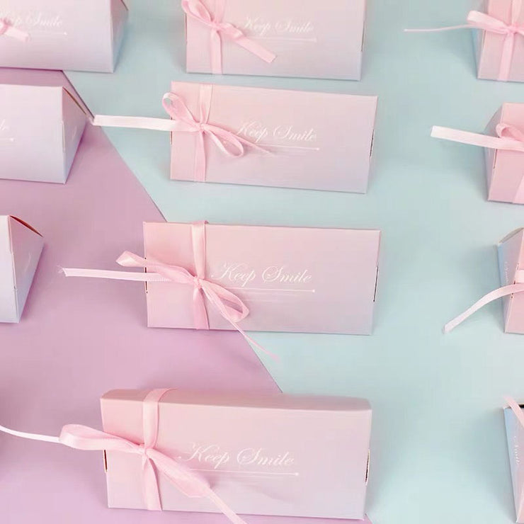 50 PCS Guest Favors Long Triangular Cotton Candy Pink Wedding Candy Boxes with Ribbon