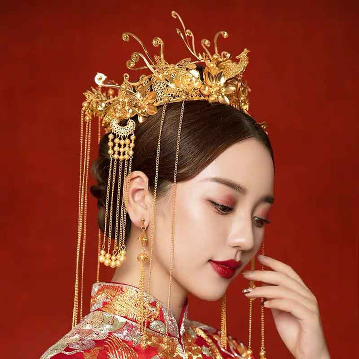 Chinese Gold Wedding Hairpiece For Cheongsam/Ao Dai/Qipao/Kua 旗袍/奧黛/龍鳳卦/秀禾服