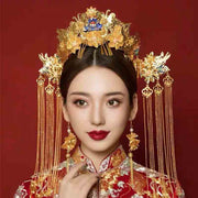 Chinese Gold Wedding Hairpiece For Cheongsam/Ao Dai/Qipao/Kua 旗袍/奧黛/龍鳳卦/秀禾服 With Brosh