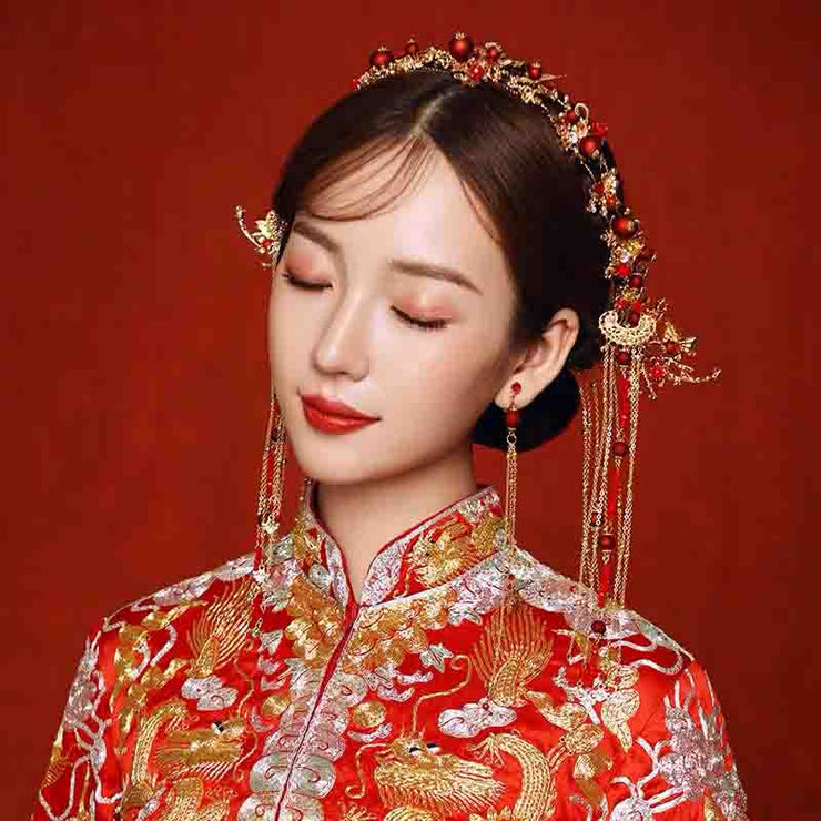 Chinese Gold Wedding Hairpiece For Cheongsam/Ao Dai/Qipao/Kua 旗袍/奧黛/龍鳳卦/秀禾服 With Combination Of Small To Big Pearls