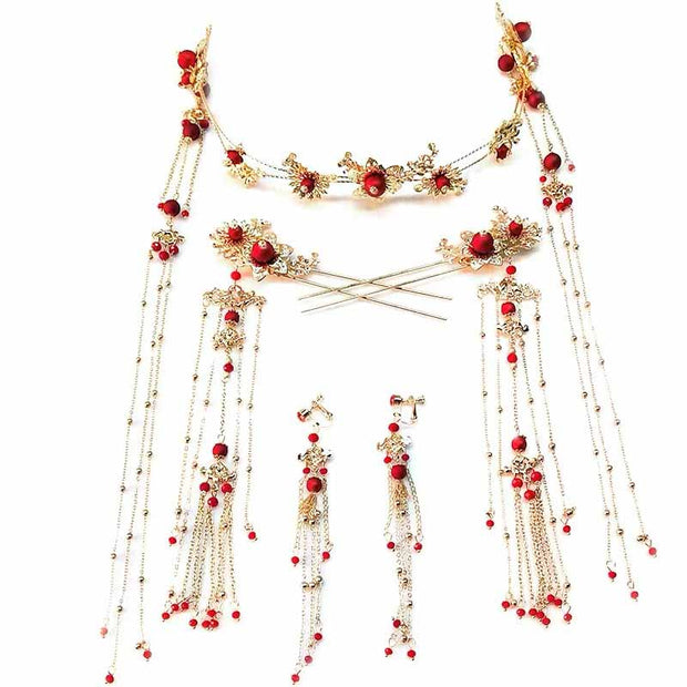 Chinese Gold Wedding Hairpiece For Cheongsam/Ao Dai/Qipao/Kua 旗袍/奧黛/龍鳳卦/秀禾服 Floral Design With Pearl On The Middle