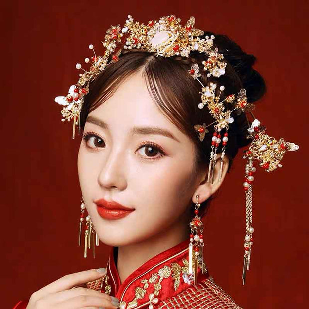 Chinese Gold Wedding Hairpiece For Cheongsam/Ao Dai/Qipao/Kua 旗袍/奧黛/龍鳳卦/秀禾服 Designed With Red Pearls And Butterflies Design