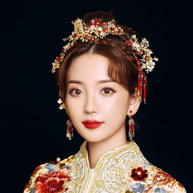 Chinese Gold Wedding Hairpiece For Cheongsam/Ao Dai/Qipao/Kua 旗袍/奧黛/龍鳳卦/秀禾服 Combined With Red Beads Paired With Earings