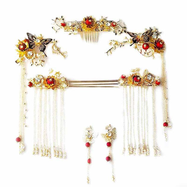 Chinese Gold Wedding Hairpiece For Cheongsam/Ao Dai/Qipao/Kua 旗袍/奧黛/龍鳳卦/秀禾服 Designed Wit Butterfly Paired With Burtterfly Earing