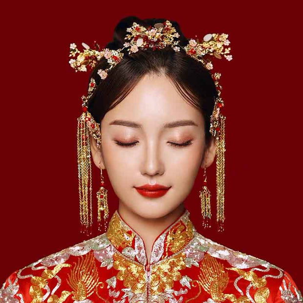 Chinese Gold Wedding Hairpiece For Cheongsam/Ao Dai/Qipao/Kua 旗袍/奧黛/龍鳳卦/秀禾服 Mini Butterflies And Mini Floral Design With Red Beads