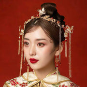 Chinese Gold Wedding Hairpiece For Cheongsam/Ao Dai/Qipao/Kua 旗袍/奧黛/龍鳳卦/秀禾服 With Double Happiness Sign And Butterfly Combine With Read Pear/Beads