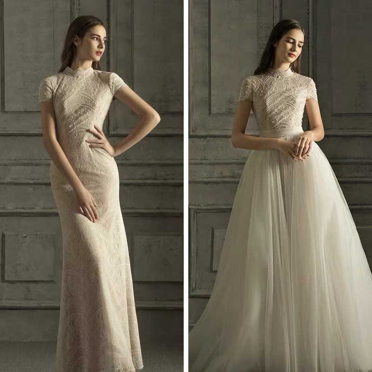 [RENT OR BUY] Custom Made Wedding Dress Lace Fabric with Turtle Neck Design and  Detachable Skirt