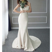 Custom Made Strapless Mermaid Wedding Dress With Ribbon Front & Zipper back