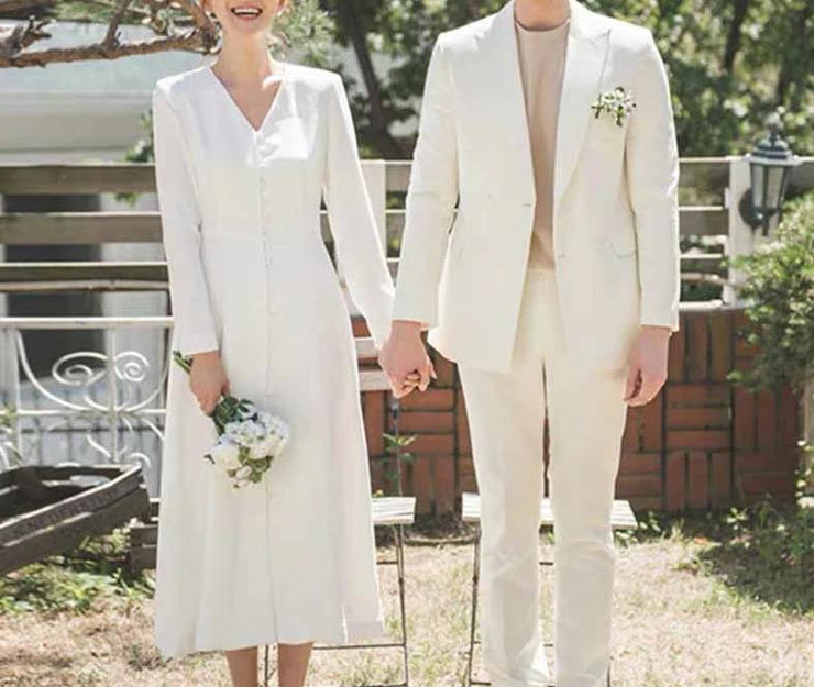 Long Sleeves V-neck Wedding Dress With Front Buttons