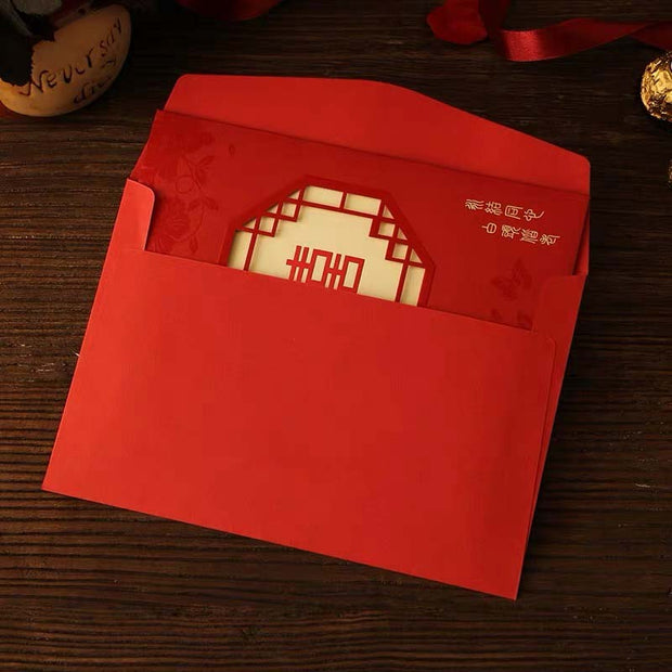 40 PCS Traditional Chinese Wedding Invitations With Classic Chinese Border Laser Cut Design