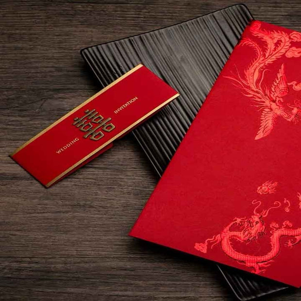 40 PCS Traditional Chinese Wedding Invitations With Embossed Dragon and Chinese Lettering