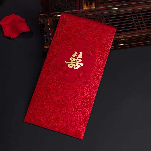 40 PCS Traditional Chinese Wedding Invitations With Floral Embossed Design