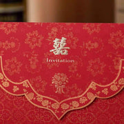 40 PCS Flower Blossom Pattern Traditional Chinese Wedding Invitations with Cute Bouquet Design