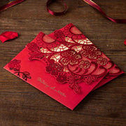 40 PCS Traditional Chinese Wedding Invitations With Beautiful Flower Laser Cut Design