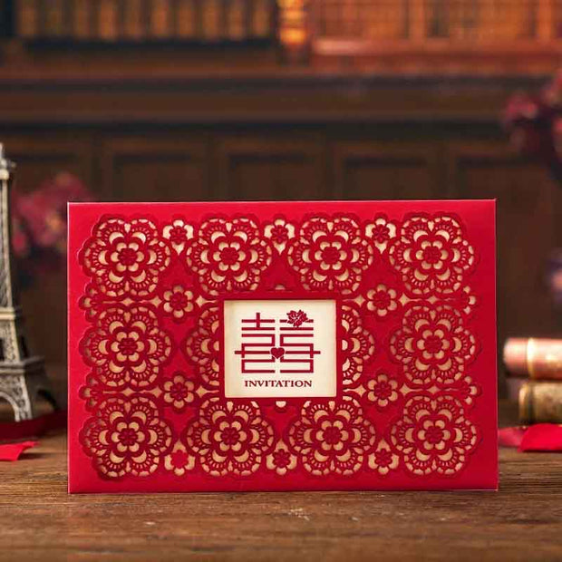 40 PCS  Laser Cut Traditional Chinese Wedding Invitations in Red