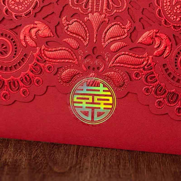 40 PCS Elegant Oriental Pattern Paper Cut Traditional Chinese Wedding Invitations