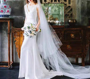 V- Neck Sleeveless Mermaid Wedding Dress