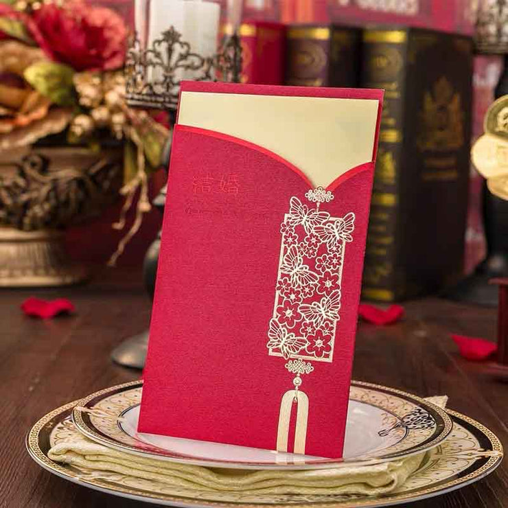 40 PCS Butterfly Garden Embossed Design Traditional Chinese Wedding Invitations