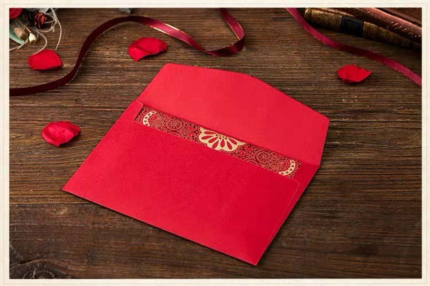 40 PCS Unique Printable Traditional Chinese Wedding Invitations with Laser Cut Oriental Batik Motif