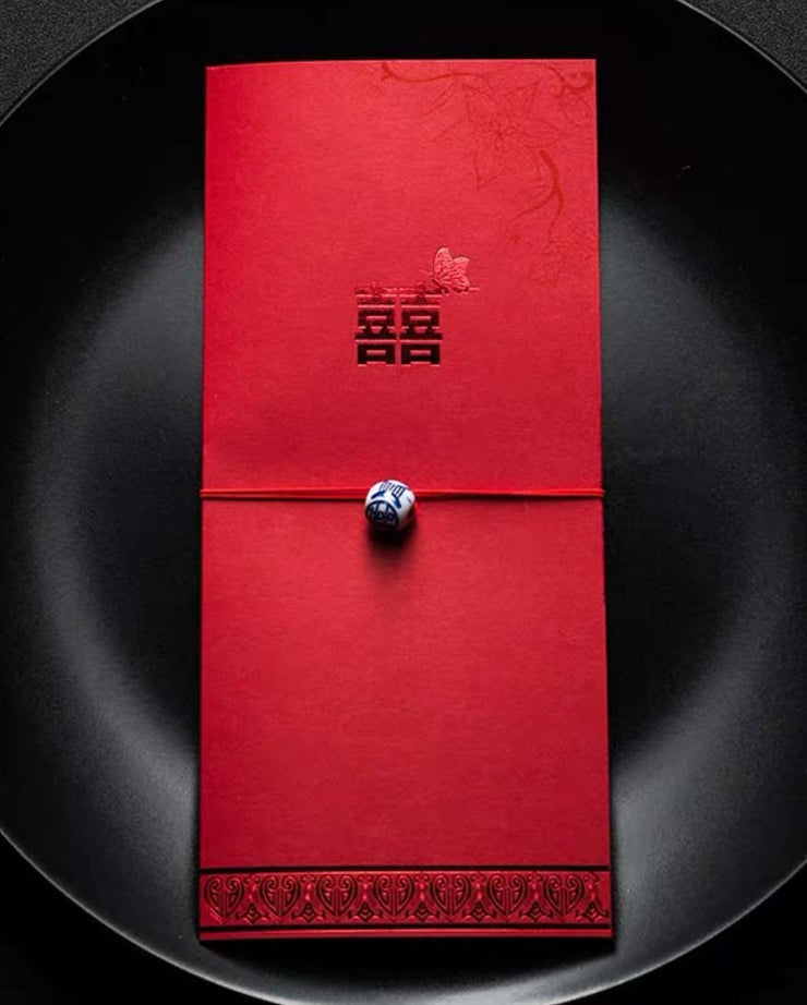40 PCS Rectangular Double Happiness Traditional Chinese Wedding Invitations
